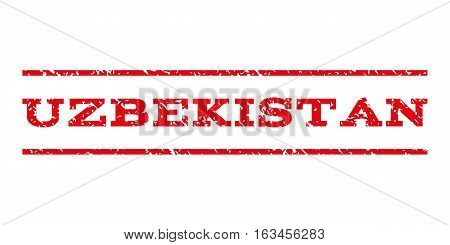 Uzbekistan watermark stamp. Text tag between horizontal parallel lines with grunge design style. Rubber seal stamp with scratched texture. Vector intensive red color ink imprint on a white background.