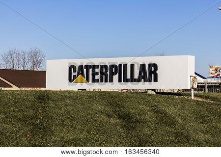 Lafayette - Circa December 2016: Caterpillar Logo And Signage. Caterpillar Inc. Is A Heavy Equipment