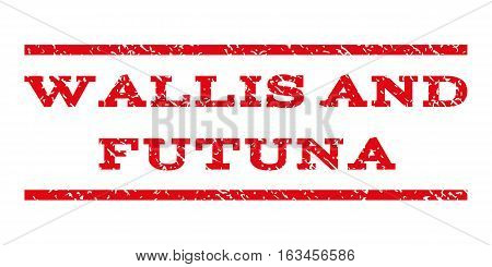 Wallis and Futuna watermark stamp. Text caption between horizontal parallel lines with grunge design style. Rubber seal stamp with scratched texture.