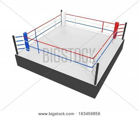 Boxing Ring isolated on white background. 3D render