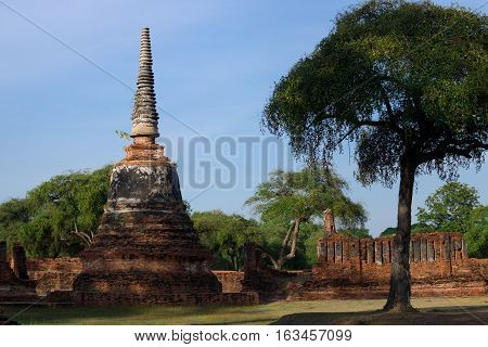 Old pagoda in Wat Phra Sri Sanpetch temple, Ayutthaya, Thailand