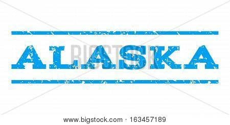Alaska watermark stamp. Text caption between horizontal parallel lines with grunge design style. Rubber seal stamp with dirty texture. Vector blue color ink imprint on a white background.