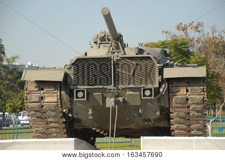 ADANA/TURKEY-DECEMBER 9, 2016:  Turkish Land Forces' Military Tank at the central park of Adana. December 9, 2016-Adana/Turkey