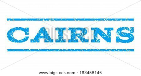 Cairns watermark stamp. Text caption between horizontal parallel lines with grunge design style. Rubber seal stamp with unclean texture. Vector blue color ink imprint on a white background.