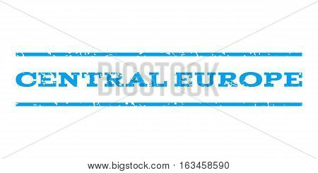 Central Europe watermark stamp. Text tag between horizontal parallel lines with grunge design style. Rubber seal stamp with unclean texture. Vector blue color ink imprint on a white background.