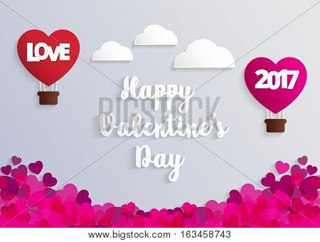 Concept of Valentine day hot air balloon in a heart shape with Love message floating in the air Paper art and craft style.