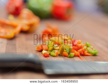 Fresh ecological Bell pepper chopped on cutting board stock photo
