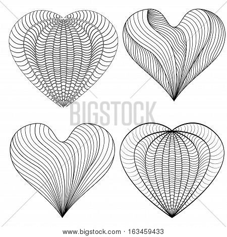 Decorative Love Heart. Vector illustration. Coloring book for adult and Doodle patterns