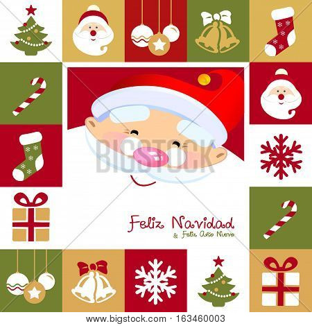 Feliz Navidad y Feliz Año Nuevo Spanish. Merry Christmas and Happy  New Year