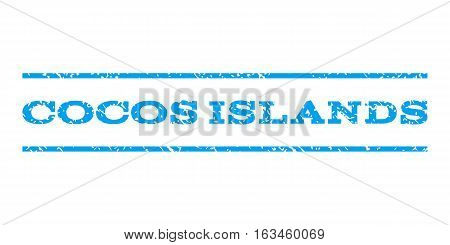 Cocos Islands watermark stamp. Text tag between horizontal parallel lines with grunge design style. Rubber seal stamp with scratched texture. Vector blue color ink imprint on a white background.