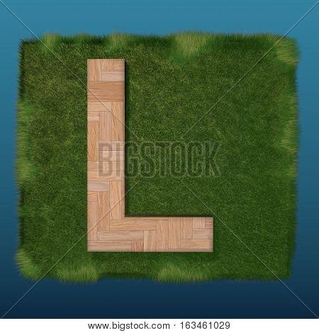 3D Decorative Wooden Alphabet On Green Grass, Capital Letter L