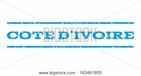 Cote D'Ivoire watermark stamp. Text tag between horizontal parallel lines with grunge design style. Rubber seal stamp with unclean texture. Vector blue color ink imprint on a white background.