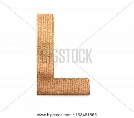3D Decorative Letter From An Burlap Alphabet, Capital Letter L