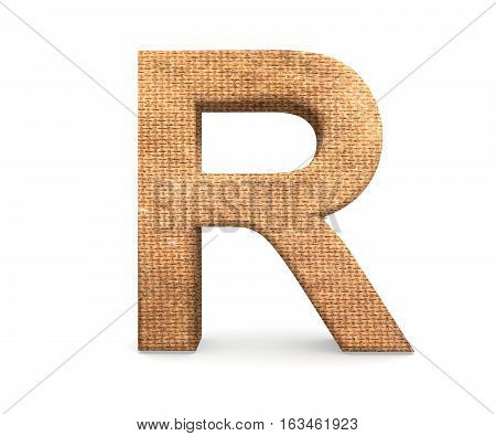 3D Decorative Letter From An Burlap Alphabet, Capital Letter R