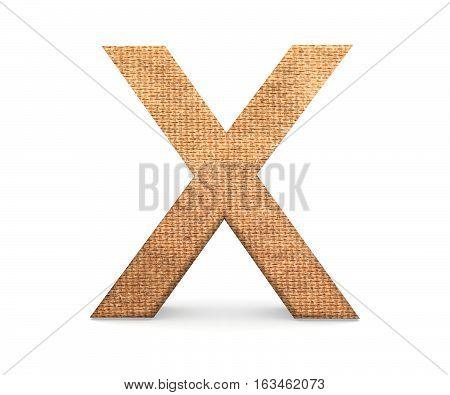 3D Decorative Letter From An Burlap Alphabet, Capital Letter X