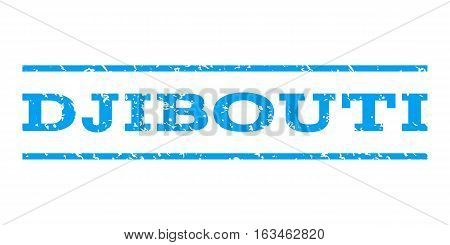 Djibouti watermark stamp. Text tag between horizontal parallel lines with grunge design style. Rubber seal stamp with unclean texture. Vector blue color ink imprint on a white background.