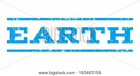 Earth watermark stamp. Text caption between horizontal parallel lines with grunge design style. Rubber seal stamp with dust texture. Vector blue color ink imprint on a white background.