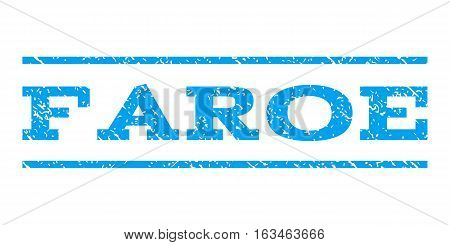 Faroe watermark stamp. Text caption between horizontal parallel lines with grunge design style. Rubber seal stamp with unclean texture. Vector blue color ink imprint on a white background.