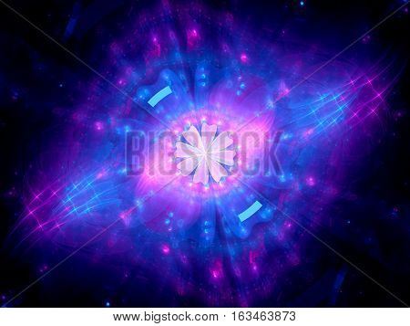 Colorful glowing spiritual energy in space computer generated abstract background 3D render