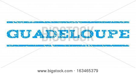 Guadeloupe watermark stamp. Text tag between horizontal parallel lines with grunge design style. Rubber seal stamp with dust texture. Vector blue color ink imprint on a white background.
