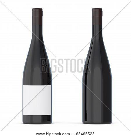 Black Unlabeled Wine Bottles Isolated on white background. 3d rendering.