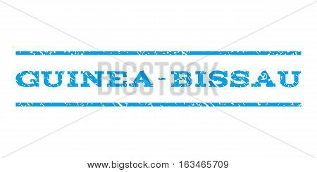 Guinea-Bissau watermark stamp. Text caption between horizontal parallel lines with grunge design style. Rubber seal stamp with scratched texture. Vector blue color ink imprint on a white background.