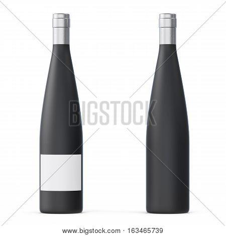 Black matte unlabeled wine bottles Isolated on white background. 3d rendering.