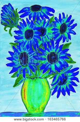 Bouquet of dark blue flowers illustration painting