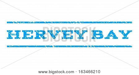 Hervey Bay watermark stamp. Text caption between horizontal parallel lines with grunge design style. Rubber seal stamp with dust texture. Vector blue color ink imprint on a white background.