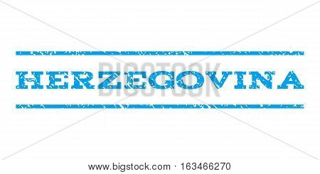 Herzegovina watermark stamp. Text tag between horizontal parallel lines with grunge design style. Rubber seal stamp with scratched texture. Vector blue color ink imprint on a white background.