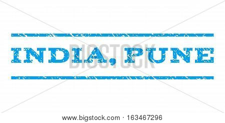 India, Pune watermark stamp. Text caption between horizontal parallel lines with grunge design style. Rubber seal stamp with unclean texture. Vector blue color ink imprint on a white background.