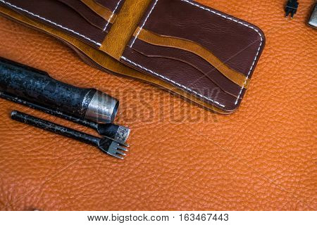 Leather Craft For Wallet Working With Tool