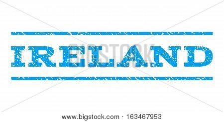 Ireland watermark stamp. Text tag between horizontal parallel lines with grunge design style. Rubber seal stamp with scratched texture. Vector blue color ink imprint on a white background.
