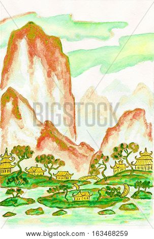 Hand painted picture - landscape with mountains watercolours in traditions of old Chinese painting mixed with individual style.