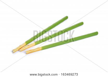 biscuit stick with green tea flavored isolated on white background