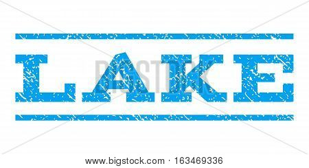 Lake watermark stamp. Text tag between horizontal parallel lines with grunge design style. Rubber seal stamp with dirty texture. Vector blue color ink imprint on a white background.