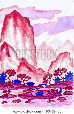Hand painted picture - landscape with mountains in red colours watercolours in traditions of old Chinese painting mixed with individual style.