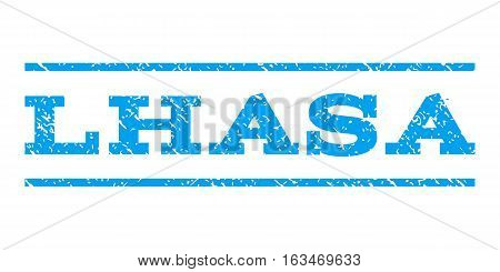 Lhasa watermark stamp. Text tag between horizontal parallel lines with grunge design style. Rubber seal stamp with dust texture. Vector blue color ink imprint on a white background.