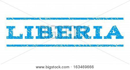 Liberia watermark stamp. Text tag between horizontal parallel lines with grunge design style. Rubber seal stamp with dirty texture. Vector blue color ink imprint on a white background.