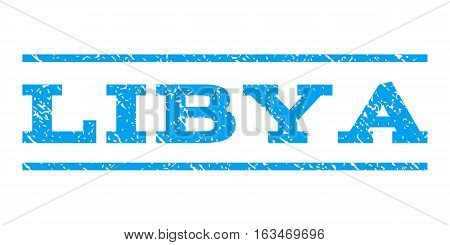 Libya watermark stamp. Text tag between horizontal parallel lines with grunge design style. Rubber seal stamp with scratched texture. Vector blue color ink imprint on a white background.