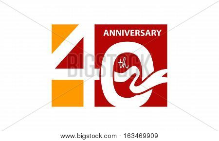Forty Years Gift Box Ribbon Anniversary Template