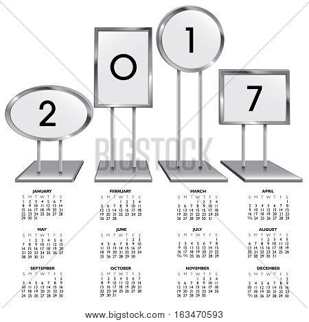 2017 calendar with chrome sign holders for print or web