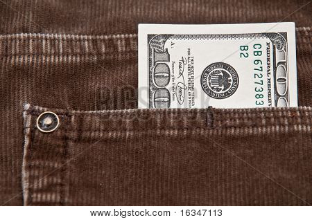 velveteen pockets with dollar note