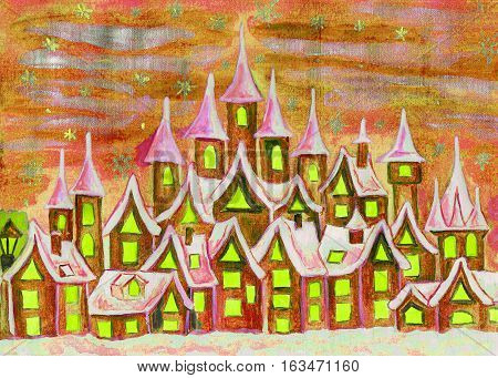 Hand painted illustration watercolours fairy town in red and yellow colours can be used as illustration for children's fairy tales Christmas picture etc.