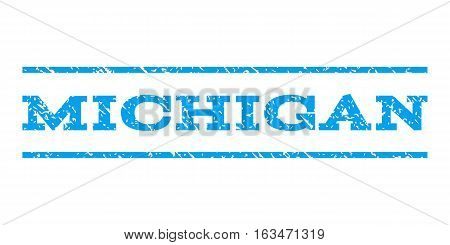Michigan watermark stamp. Text tag between horizontal parallel lines with grunge design style. Rubber seal stamp with dirty texture. Vector blue color ink imprint on a white background.