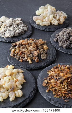 Various kinds of incense: myrrh, frankincense, messer, copaiba,elemi camonya