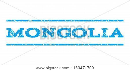 Mongolia watermark stamp. Text caption between horizontal parallel lines with grunge design style. Rubber seal stamp with dirty texture. Vector blue color ink imprint on a white background.