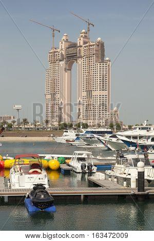 ABU DHABI UAE - NOV 25 2016: The Fairmont Marina Residences building construction site at the Abu Dhabi Marina United Arab Emirates