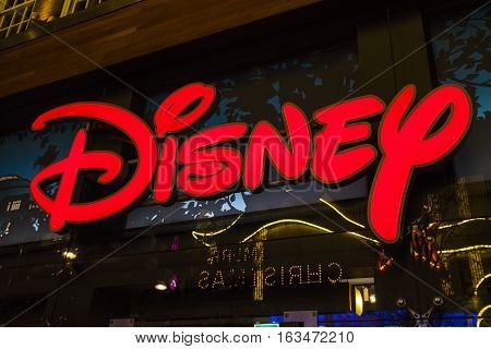 LONDON UK - DECEMBER 29TH 2016: The Disney logo on the exterior of the Disney store on Oxford Street in London on 29th December 2016.
