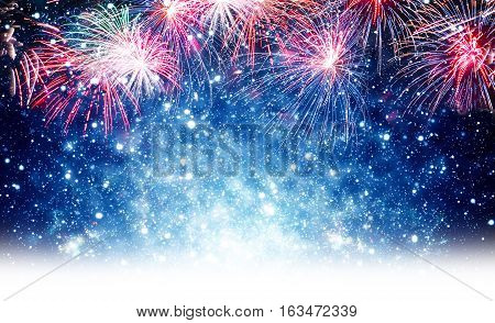 Fireworks with dark blue backgrounds and stars in white discontinued